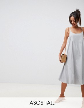 photo Trapeze Swing Lace Up Back Midi Sundress by ASOS DESIGN Tall, color Duck Egg - Image 1