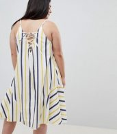 photo Stripe Swing Trapeze Midi Sundress with Lace Up Back by ASOS DESIGN Curve, color Multi - Image 2