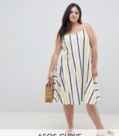 photo Stripe Swing Trapeze Midi Sundress with Lace Up Back by ASOS DESIGN Curve, color Multi - Image 1