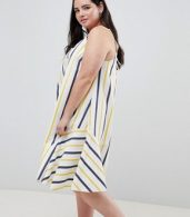 photo Stripe Swing Trapeze Midi Sundress with Lace Up Back by ASOS DESIGN Curve, color Multi - Image 4