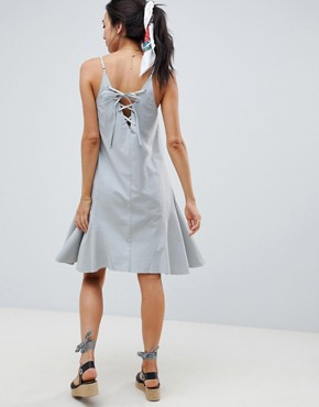 photo Maternity Trapeze Swing Lace Up Back Midi Sundress by ASOS DESIGN, color Duck Egg - Image 2