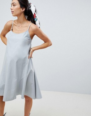photo Maternity Trapeze Swing Lace Up Back Midi Sundress by ASOS DESIGN, color Duck Egg - Image 1