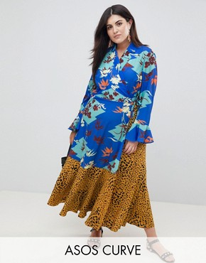 photo Mix Print Wrap Maxi Dress with Fluted Sleeve by ASOS DESIGN Curve, color Multi - Image 1