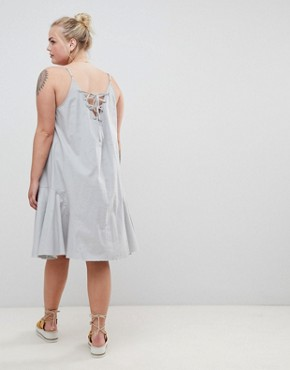 photo Trapeze Swing Lace Up Back Midi Sundress by ASOS DESIGN Curve, color Duck Egg - Image 2