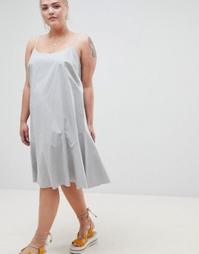 photo Trapeze Swing Lace Up Back Midi Sundress by ASOS DESIGN Curve, color Duck Egg - Image 4
