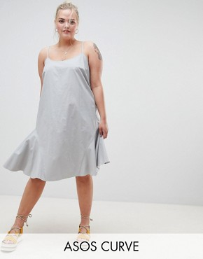 photo Trapeze Swing Lace Up Back Midi Sundress by ASOS DESIGN Curve, color Duck Egg - Image 1