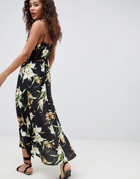 photo Button Through Maxi Dress in Lily Print by ASOS DESIGN Tall, color Multi - Image 2