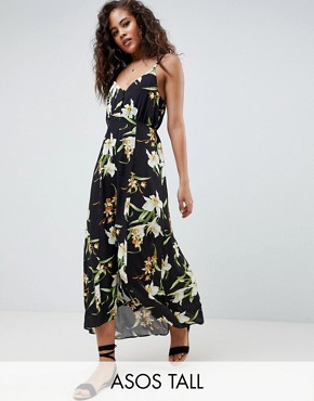 photo Button Through Maxi Dress in Lily Print by ASOS DESIGN Tall, color Multi - Image 1