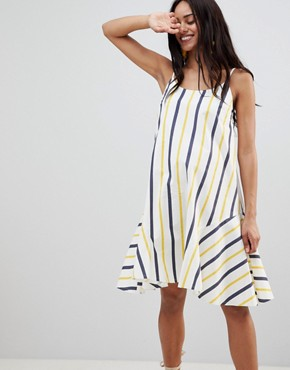 photo Maternity Stripe Swing Trapeze Midi Sundress with Lace Up Back by ASOS DESIGN, color Multi - Image 1