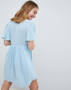 photo Casual Tea Dress with Floral Embroidery by ASOS DESIGN Petite, color Blue - Image 2