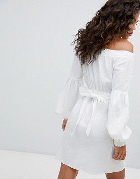 photo Off Shoulder Linen Mini Dress with Belt Detail by ASOS DESIGN Tall, color White - Image 2