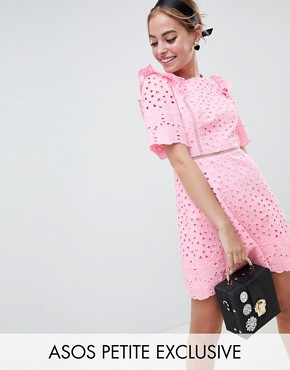 photo Exclusive Broiderie Mini Dress with Ruffle Detail by ASOS DESIGN Petite, color Pink - Image 1