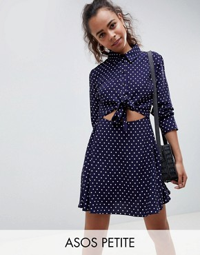photo Tie Front Shirt Mini Dress in Spot by ASOS DESIGN Petite, color Multi - Image 1