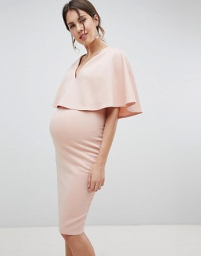 photo Maternity Nursing Cape Double Layer Bodycon Dress by ASOS DESIGN, color Nude - Image 1