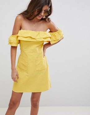 photo Ruffle Off Shoulder Mini Sundress by ASOS DESIGN, color Yellow - Image 1
