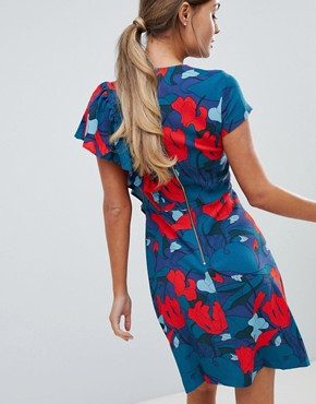 photo Printed Dress with Frill Detail by Closet London, color Multi - Image 2