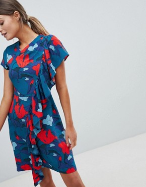 photo Printed Dress with Frill Detail by Closet London, color Multi - Image 1