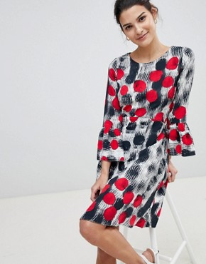 photo Spotty Fluted Sleeve Dress by Closet London, color Multi - Image 1