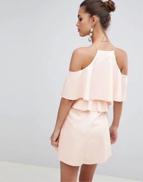 photo High Neck Cold Shoulder Skater Mini Dress by ASOS DESIGN, color Nude - Image 2
