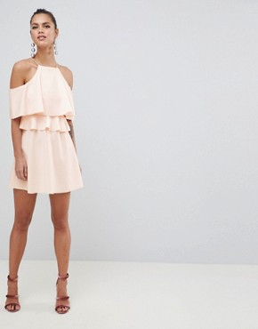 photo High Neck Cold Shoulder Skater Mini Dress by ASOS DESIGN, color Nude - Image 1