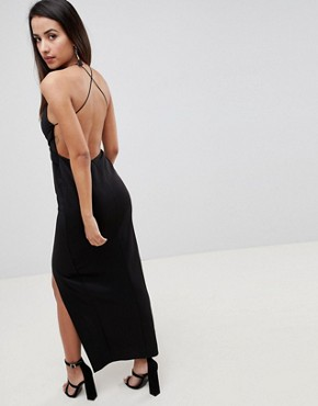 photo Cross Front Strappy Maxi Dress by ASOS DESIGN, color Black - Image 2