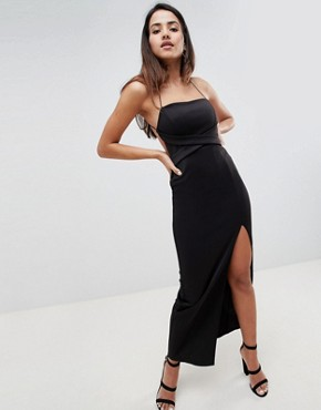 photo Cross Front Strappy Maxi Dress by ASOS DESIGN, color Black - Image 1