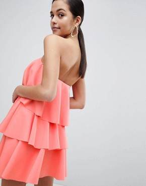 photo Bandeau Tiered Mini Dress by ASOS DESIGN, color Coral - Image 2