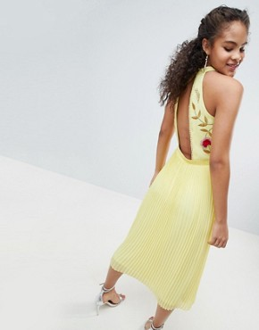 photo Embroidered Top Pleated Midi Dress by Frock and Frill Tall, color Yellow - Image 2
