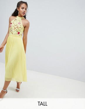 photo Embroidered Top Pleated Midi Dress by Frock and Frill Tall, color Yellow - Image 1