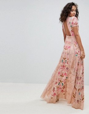 photo Allover Embroidered Plunge Front Maxi Dress by Frock and Frill Tall, color Pink - Image 2