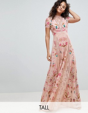 photo Allover Embroidered Plunge Front Maxi Dress by Frock and Frill Tall, color Pink - Image 1