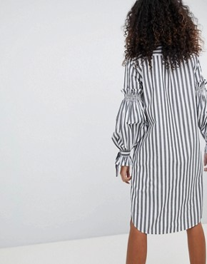 photo Tie Detail Stripe Shirt Dress by Monki, color Stripe - Image 2