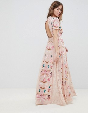 photo Allover Embroidered Plunge Front Maxi Dress by Frock and Frill Petite, color Pink - Image 2