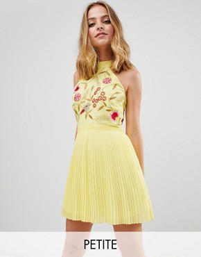 photo Embroidered Top Pleated Mini Dress by Frock and Frill Petite, color Yellow - Image 1