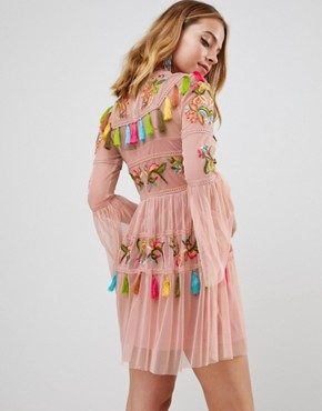 photo Folk Embroidered Tassel Skater Dress by Frock and Frill Petite, color Nude - Image 2