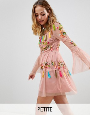 photo Folk Embroidered Tassel Skater Dress by Frock and Frill Petite, color Nude - Image 1