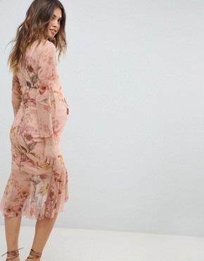 photo Long Sleeve Printed Mesh Dress with Peplum Hem by Hope & Ivy Maternity, color Nude Base Floral - Image 2