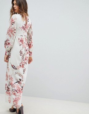 photo Long Sleeve Button Front Printed Maxi Dress by Hope & Ivy Maternity, color Cream Base Floral - Image 2