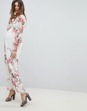 photo Long Sleeve Button Front Printed Maxi Dress by Hope & Ivy Maternity, color Cream Base Floral - Image 1