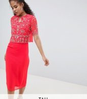 photo Embellished Top 2 in 1 Pencil Dress by Frock and Frill Tall, color Coral - Image 1