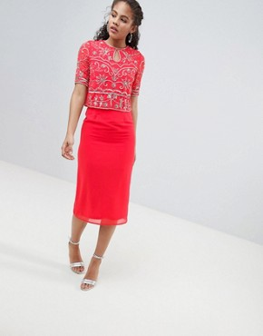 photo Embellished Top 2 in 1 Pencil Dress by Frock and Frill Tall, color Coral - Image 4