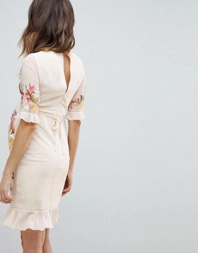 photo All Over Floral Embroidered Mini Dress by Hope & Ivy Maternity Premium, color Nude Multi - Image 2