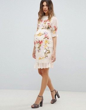 photo All Over Floral Embroidered Mini Dress by Hope & Ivy Maternity Premium, color Nude Multi - Image 4