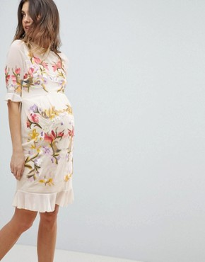 photo All Over Floral Embroidered Mini Dress by Hope & Ivy Maternity Premium, color Nude Multi - Image 1