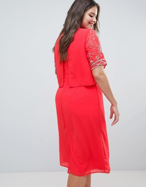 photo Embellished Top 2 in 1 Pencil Dress by Frock and Frill Plus, color Coral - Image 2