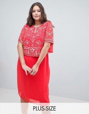 photo Embellished Top 2 in 1 Pencil Dress by Frock and Frill Plus, color Coral - Image 1