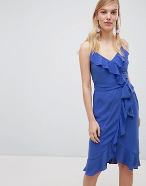 photo Cami Frill Front Wrap Midi Dress by Oasis, color Blue - Image 1