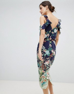 photo Fitzwilliam Cold Shoulder Floral Print Midi Dress by Oasis, color Multi Blue - Image 2