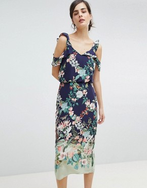 photo Fitzwilliam Cold Shoulder Floral Print Midi Dress by Oasis, color Multi Blue - Image 1