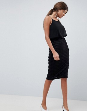 photo Pleated Cami Midi Dress by Traffic People, color Black - Image 1